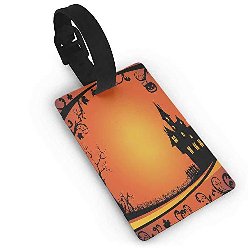 Creative boarding pass Halloween,Framework with Curvy Tree Branches Swirls Leaves Gothic Castle Festival,Orange Yellow Black One Size Cute Novelty ()