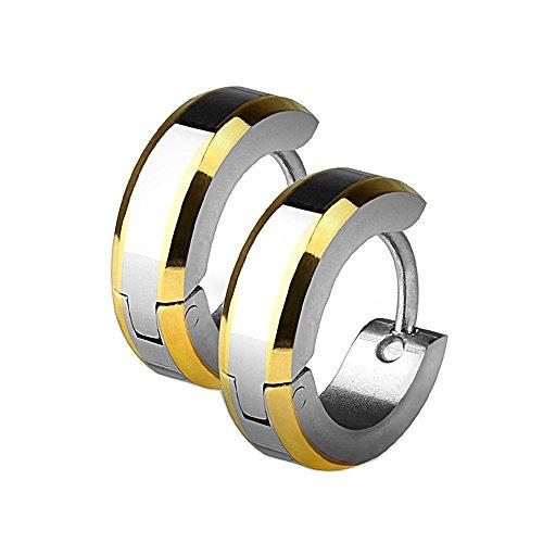 SER-0041 Pair of Stainless Steel IP Hoop Earrings with Beveled Edges (Gold)