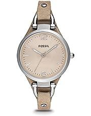 FOSSIL Montre Georgia femme / Montre-bracelet vintage avec cadran en acier argenté et bracelet élégant - Boîte de rangement et pile incluses