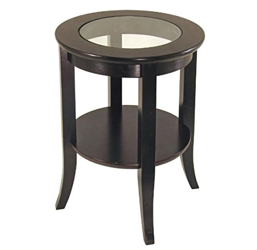 Frenchi Furniture-Wood Genoa End Table Round Side /Accent Table Inset Glass (Wilkinsons Rattan Garden Furniture)