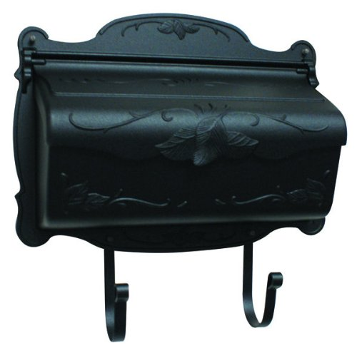 Mailbox Blk Wall (Floral Horizontal Wall Mounted Mailbox Finish: Black)