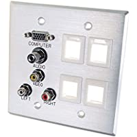 C2G/Cables to Go 40509 VGA, 3.5mm Audio, Composite Video and RCA Stereo Audio Pass Through Double Gang Wall Plate with Four Keystones - Brushed Aluminum