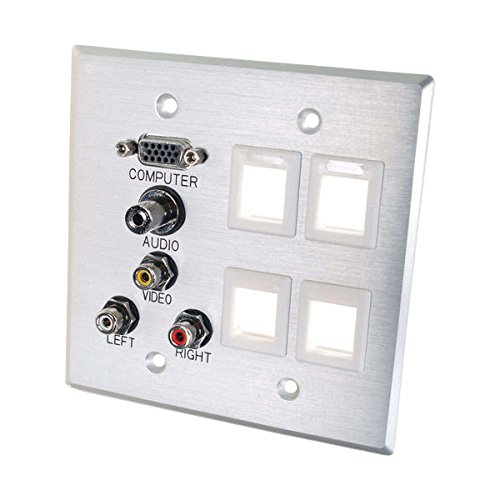 (C2G 40509 VGA, 3.5mm Audio, Composite Video and RCA Stereo Audio Pass Through Double Gang Wall Plate with Four Keystones, Brushed Aluminum)