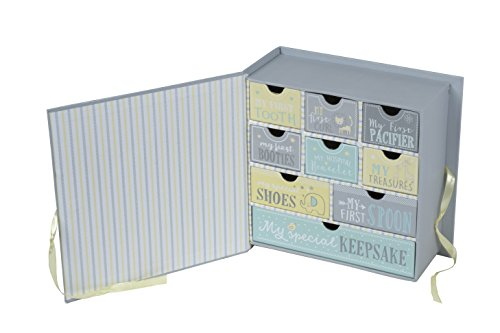 Baby Milestone Keepsake Storage Box: Track Treasured Memories   Pink  Elephant Tri Coastal Design