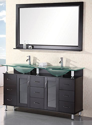 Design Element Redondo Double Integrated Tempered Glass Countertop and Frosted Sink Vanity Set with Espresso Finish, 61-Inch ()