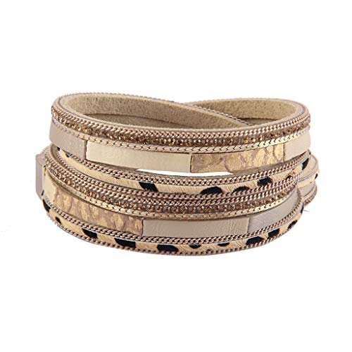 (Jenia Leopard Skin Leather Wrap Bracelet Casual Multi Layer Wrap Bracelets with Magnetic Clasp for Women, Girls, Wife)