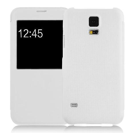 JAMMYLIZARD Carcasa Galaxy S5 Funda flip cover con ventana de apertura para Samsung Galaxy S5/S5 Neo/S5 Plus, color blanco