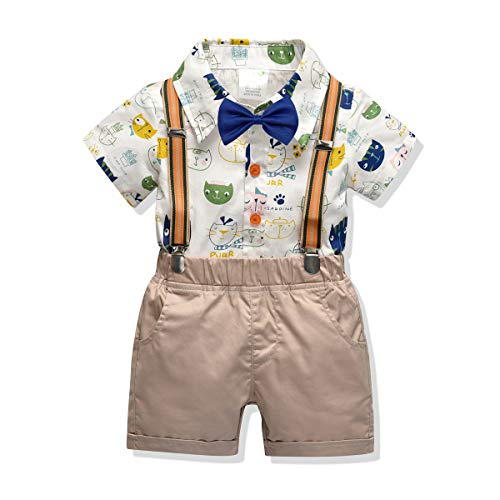 Little Boys Gentleman Outfit Suits,Baby Boys Short Pants Set,Short Sleeve Shirt+Suspender Pants+Bow Tie 4Pcs (Cartoon, 2-3T/90)