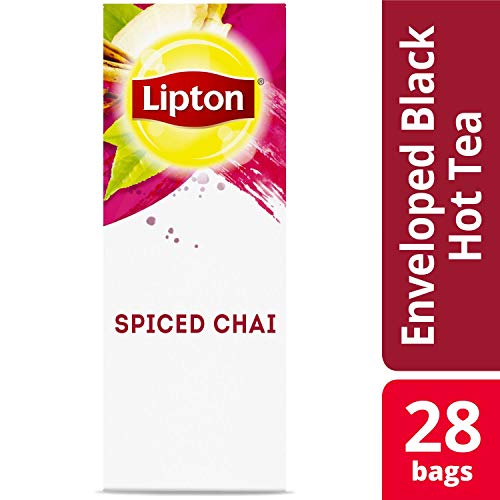 Lipton Spiced Chai Enveloped Hot Tea Bags Made with Tea Leaves Sourced from Rainforest Alliance Certified Farms, 28 count, Pack of 6