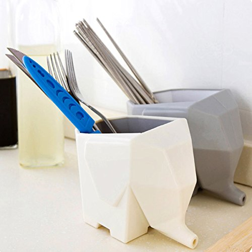 Shop24Hrs Lovely Elephant Shape Multi-purpose Cutlery Drainer Brush Flower Pot