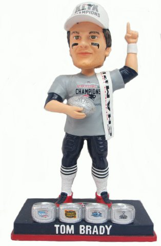 Tom Brady (New England Patriots) Super Bowl XLIX Champ T-Shirt/Hat 4X Ring Base Exclusive #/500 NFL Bobble Head Forever Collectibles by Forever Collectibles