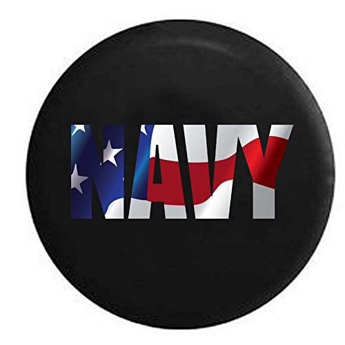 Pike Flag - US NAVY Military Trailer RV Spare Tire Cover OEM Vinyl Black 27.5 in