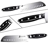 TUO Santoku Knife-7 inch Santoku Chef Knife Kitchen Knives Ultra Sharp Asian Knife Japanese Chefs Knives - German HC Steel - Full Tang Pakkawood Handle - BLACK HAWK SERIES with Gift Box