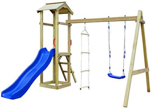 Tidyard Parque Infantil con Escalera Columpio, tobogán y Columpio de Madera Torre de Escalada con Muro de Escalada cajón de Arena FSC: Amazon.es: Hogar