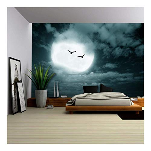 (wall26 - Halloween Background, Full Moon and Sky, Dark Style. - Removable Wall Mural | Self-Adhesive Large Wallpaper - 100x144)