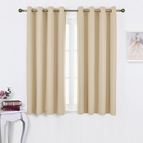 Pole Top Curtain Panel (NICETOWN Bedroom Curtains Room Darkening Draperies - Beige Room Darkening Drapes / Panels for Bedroom, Grommet Top 2-Pack, 52 x 63 Inch Long, Thermal Insulated, Privacy Assured)