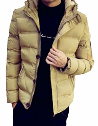 Hoode UK Coat Full Thicken Hot Brd Solid Jacket Winter Khaki Warm Men's Zip 8qS5RRxFw