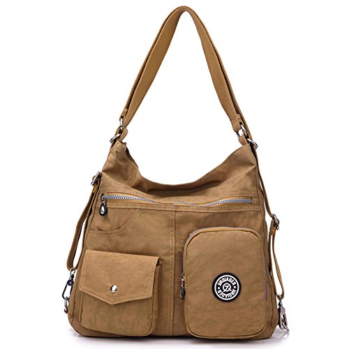 DIOMO Lightweight Water Resistant Nylon Women Backpack Totes Crossbody Bag Shoulder Bag with Pockets Large (Brown) by DIOMO