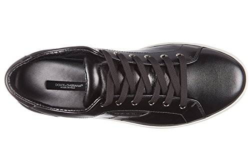 Dolce&Gabbana chaussures baskets sneakers homme en cuir mordore noir
