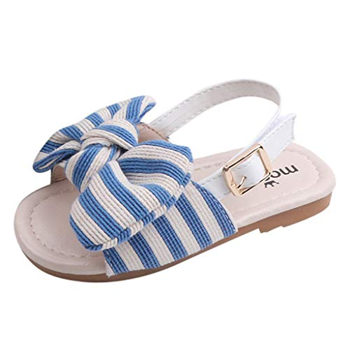 (Alimao Baby Girls Sandals Shoes Anti-Slip Soft Sole Toddler Sneaker,Beach Sandals Summer Roma First Walkers Sandals Striped Bowknot Slipper Flat Sneaker Blue )