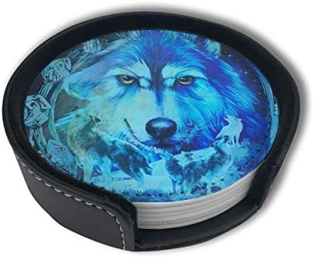 BJAMAJ Wolf Dream Blue Galaxy Premium PU lederen onderzetters drinken ronde onderzetters met houder Sets Geschikt voor thuis en keuken 6PCS