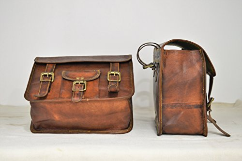 Handmade Bag Wala Saddle Bags Motorcycle Two Side Pouch Brown Leather Pouch Saddle Panniers (2 Bags) by Handmade Bag Wala (Image #2)