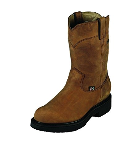Justin Men's Pull-On Waterproof Work Boot Round Toe Aged Bar