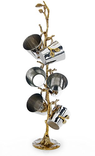 Classic Touch JLS35 Hammered Stainless Steel Liquor Kiddush Cups Set
