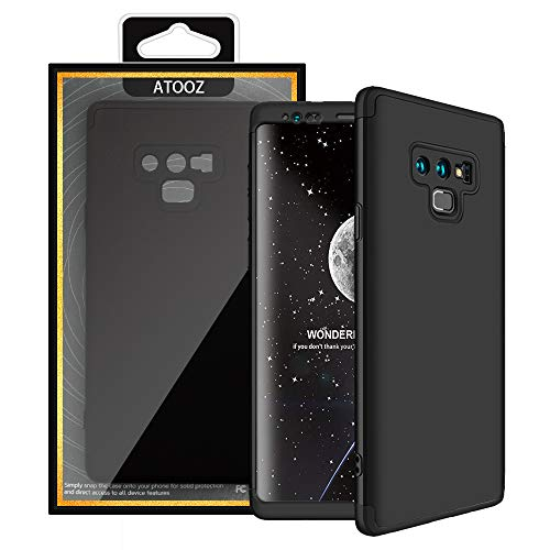 Galaxy Note 9 Case, ATOOZ 360 Degree Premium Material All-Around Full Body Slim Fit Lightweight Hard Protective Skin Case Cover for Samsung Galaxy Note9 (Black)