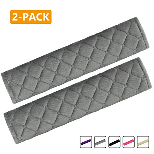 Price comparison product image MIRKOO Car Seat Belt Cover Pad,  2-Pack Soft Car Safety Seat Belt Strap Shoulder Pad for Adults and Children,  Suitable for Car Seat Belt,  Backpack,  Shoulder Bag,  Laptop Computer Bag (Gray)
