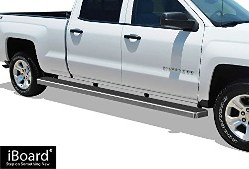 APS iBoard (Silver 5 inches Wheet to Wheel) Running Boards | Nerf Bars | Side Steps for 2007-2018 Chevy Silverado/GMC Sierra Crew Cab 6.5ft Bed & 2019 2500 HD / 3500 HD (Excl. 07 Classic Models) ()