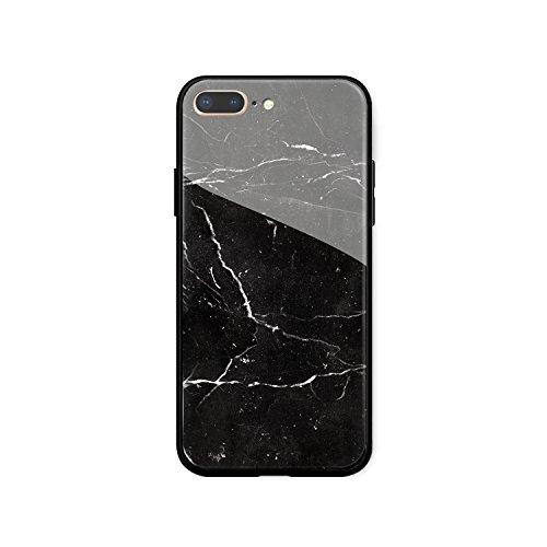 Case for iPhone 7 Plus & iPhone 8 Plus, Black Marble Design, Simulation Glass Rigid Back Panel,Premium Non-Slip Frame, Hybrid Protective Case...