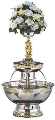 Buffet Enhancements Deluxe Stainless Steel Champagne Fountain - Silver and Gold Trim, 19 x 19 x 29 inch -- 1 each.
