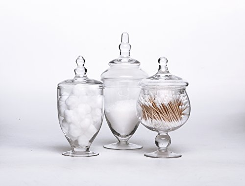 Set of 3 Clear Glass Apothecary Jars - Wedding Candy Buffet (Candy Buffet Set)