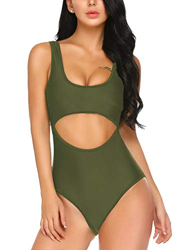 (Women's One Piece U Neck Backless Swimsuits Monikini Bathing Suit M Army Green)
