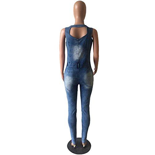 Mamelucos Elegantes Slim Jumpsuits Denim Azul Jeans Mujeres Deep Party Sleeveless V Huateng Las Femenino n6W4TEw7