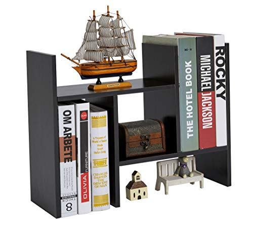 Office Desktop Bookshelf Adjustable Wood Display Shelf Desktop Organizer Office Storage Rack Countertop Bookcase Office Supplies Desk Organizer Accessories