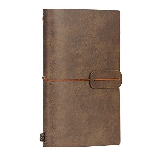 Travel Journal Notebook 7 X 5 Vintage Retro PU Leather Diary Refillable Note Book for Taking Notes from ai-natebok (White Coffee)