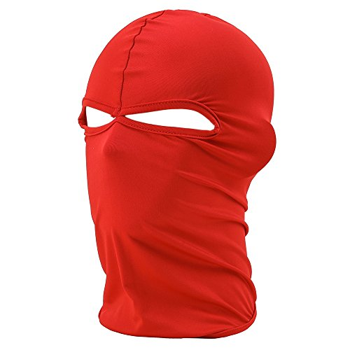 FENTI Lycra Sport Balaclava with Eye Hollow, Motorcycle Ski Cycling Face Mask , Red , One Size]()