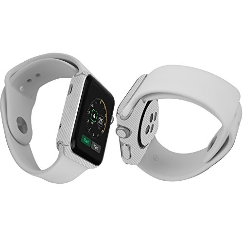 Skinomi® TechSkin - Apple Watch 42mm Silver Carbon Fiber Full Body Skin Protector with Free Lifetime Replacement / Front & Back Wrap / Premium HD Clear Film / Ultra Invisible and Anti-Bubble Shield