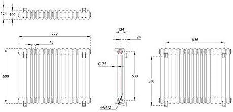 1228 Watts Radiateur R/étro Horizontal /à Colonnes 3 x 17 Finition Acier Brut 60 x 78,5cm Hudson Reed Windsor