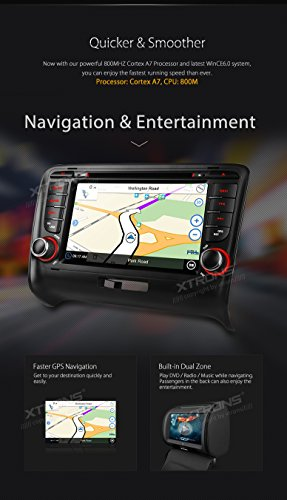 XTRONS 7 Inch HD Digital Touch Screen Car Stereo In-Dash DVD Player with GPS Navigation Dual Channel CANbus Screen Mirroring Function for Audi TT MK2 Kudos Map Card Included by XTRONS (Image #5)