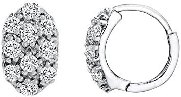 SUPER SALE 18K White Gold Over Sterling Silver Pave Cubic Zirconia Oval Huggie Earrings