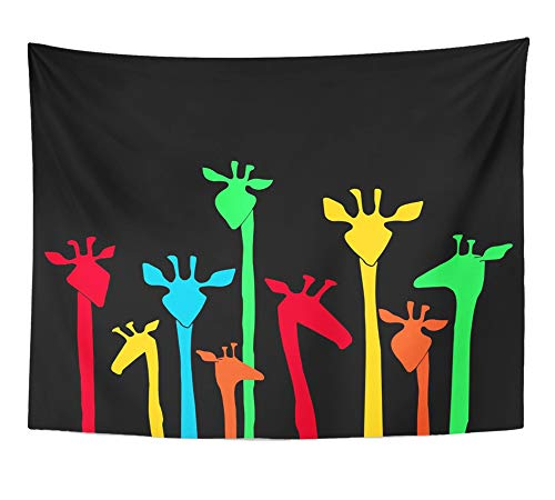 Emvency Tapestry Artwork Wall Hanging Blue Colorful with Funny Dancing Giraffes Useful for Night Party Disco Flyers As 60x80 Inches Tapestries Mattress Tablecloth Curtain Home Decor Print -