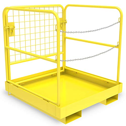 "YINTATECH Forklift Work Platform Safety Cage Collapsible Heavy Duty Steel Construction Lift Basket Aerial Rails 36""x36"" 1105lbs Capacity"