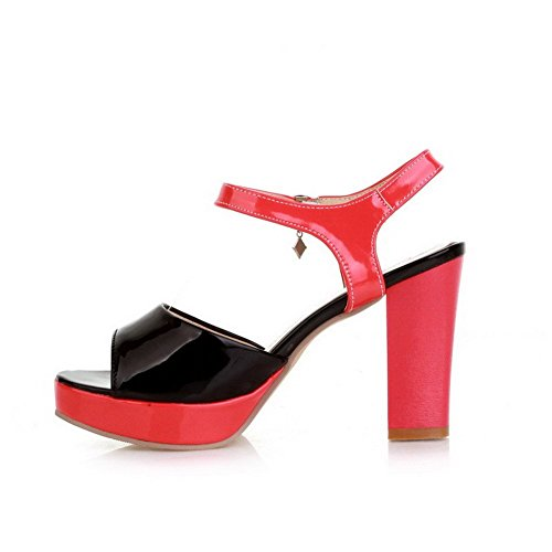 AllhqFashion Women's Patent Leather Open Toe High Heels Buckle Solid Sandals Red kSjTUGl