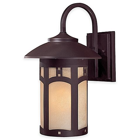 Minka Lavery Harveston Manor 14.75-Inch 1-Light Wall-Mount Outdoor Lantern in Bronze by Minka Lavery®