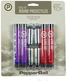 Pepperball TCP Round Projectile Refill Kit Includes CO2 Cartridges, Live Inert Rounds