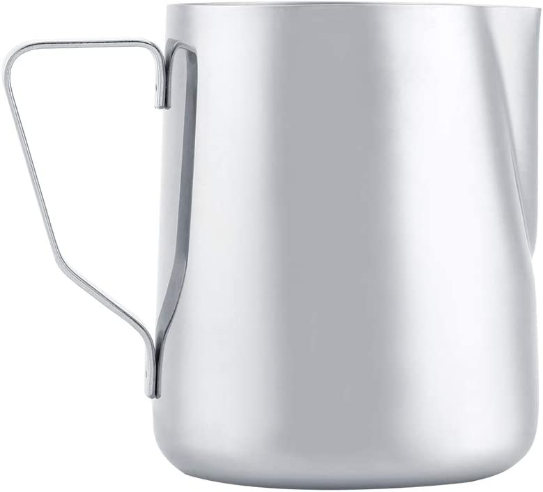 Stainless Steel Milk Frothing Pitcher Coffee Cup Mug with Cover & Measurement