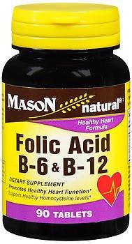Mason Vitamins Folic Acid B-6 & B12 Heart Health Formula 90 Tablets per Bottle Pack of 8 Total 720 Tablets